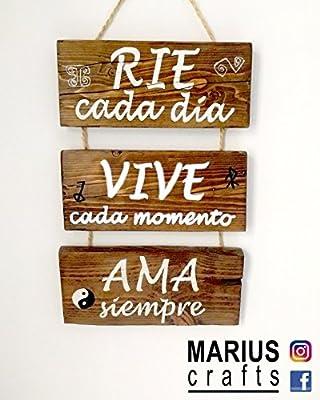 Cartel de madera decoracion, Rie Ama Vive frases ...