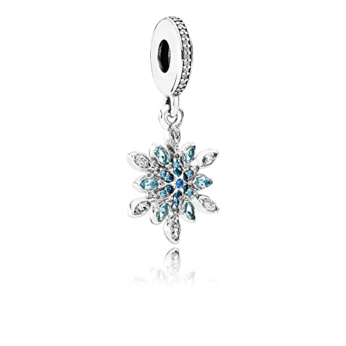 Pandora Crystalized Snowflake Silver Dangle Charm with Mixed Stones 791761NBLMX