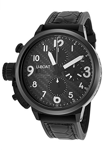 U-Boat Men's Automatic Chrono Flightdeck Black Genuine Leather Black Dial