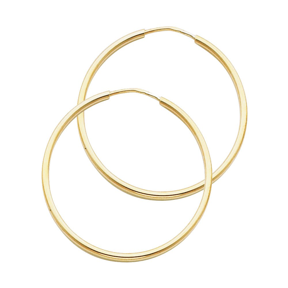 High Polished, 30mm 14k Yellow Gold 1.5mm Thick Round Tube Endless Hoop Earrings