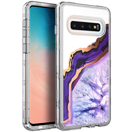 (BAISRKE Shiny Rose Gold Purple Agate Marble Heavy Duty Hybrid 3-Layer Full-Body Protect Clear Case Soft TPU & Hard Plastic Back Cover Compatible with Samsung Galaxy S10 [6.1 inch])