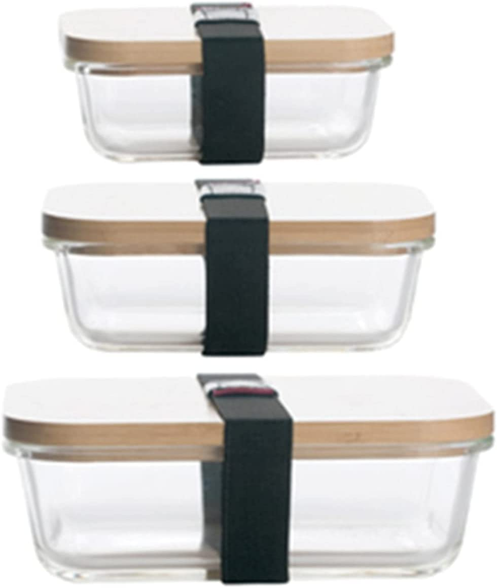 N\C Food Container-Rectangular Glass Storage Box with Cover, Refrigerator Storage Box, Can Be Placed in Microwave, Three-Piece Set
