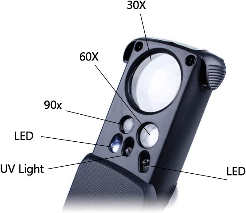 Mini LED Magnifier HD 30X 60X 90X Foldable Magnifier for Stamp Jewelry Diamond Jade Identification