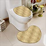 2 Piece Shower Toilet mat Damask Patterns Weaving Byzantine Islamic Antique Lace Floral Motifs Nostalgic Retro Chic Deco Washable Non-Slip