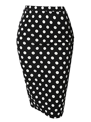 Fitted Stretch Printed High Waist Midi Pencil Skirt Black White Polka Size M