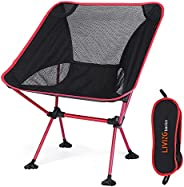 LIVINGbasics Lightweight Portable Camping Moon Chair, Folding Backpacking Chairs, Small Collapsible Foldable P