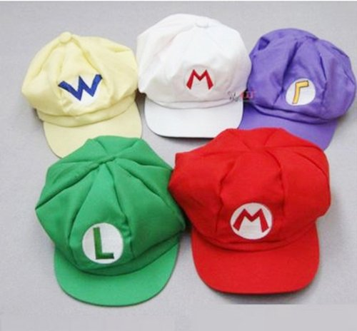 Mario Luigi Wario Waluigi Costumes (Set of 5 [super gorgeous! Cosplay Hat Cap costume] Super Mario Luigi Wario Waluigi wind (japan import))