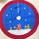 40inch/100cm Christmas Tree Skirt - Xmas Tree Decoration with fox, Felt Christmas Tree Decor