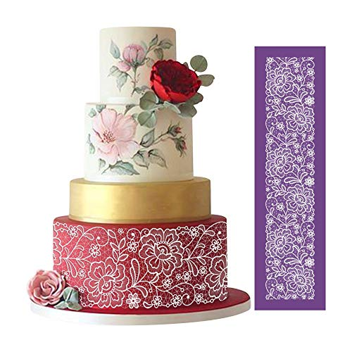 "ART KITCHENWARE Flower Mesh Cake Stencils for Royal Icing Peony Cake Lace Stencil for Wedding Cake Decorating Cookie Stencils for Bakery 19""×5.12"""