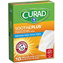 """CURAD SoothePLUS Non-Stick Pads with ARM & Hammer Baking Soda, 3"""" x 4"""", 10..."""