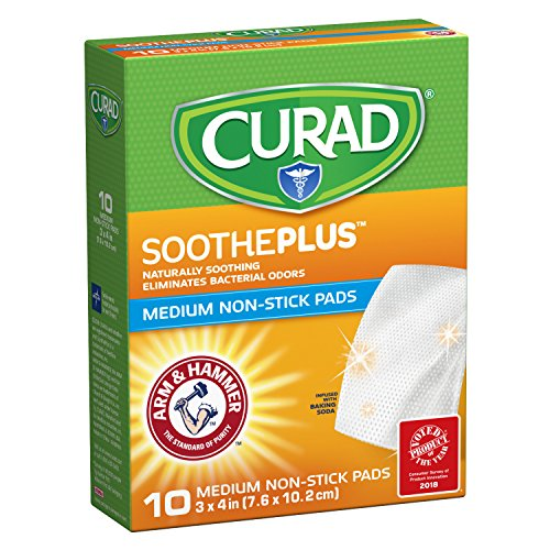 CURAD SoothePLUS Non-Stick Pads with ARM & HAMMER Baking Soda, 3