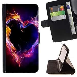 Momo Phone Case / Flip Funda de Cuero Case Cover - Llamas de Neón Negro Amor Pasión - Samsung Galaxy A5 ( A5000 ) 2014 Version