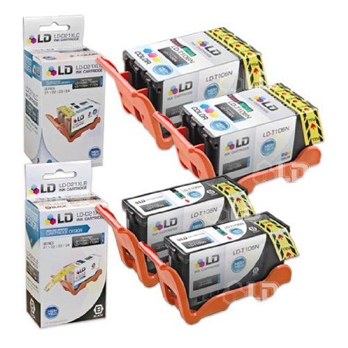 LD Compatible Ink Cartridge Replacement for Dell V515w Series 23 High Yield (2 Black, 2 Color, 4-Pack) 23 Compatible Replacement Cartridge Color