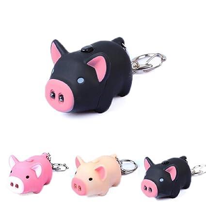 Born Beauty Cute Oink cerdo luz sonido clave cadenas cerdito ...