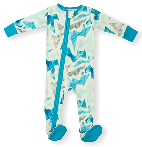 Way 2 Zipper (Earthy Organic Baby Sleeper 2-Way Zipper Pajamas Boy Girl (9 Sizes: Preemie-3T) 100% Organic Cotton (9M- Footed, Geo Blue))