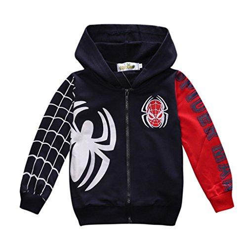 Boys Kids Simplicity Full Zipper Hoodie spiderman Costume Jacket Coat