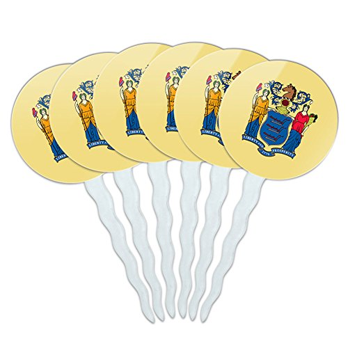 Set of 6 Cupcake Picks Toppers Decoration State Flag - New Jersey State Flag