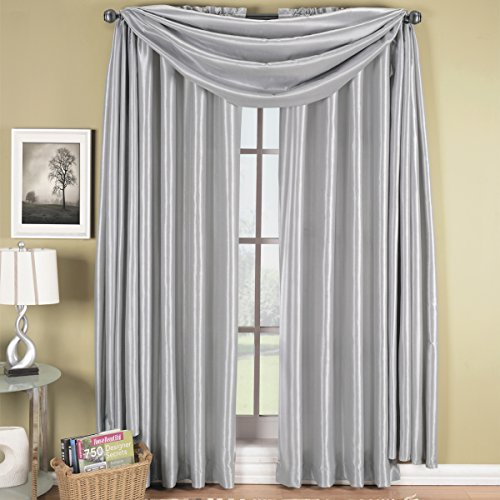 Exquisite Draperies Soho Rod Pocket Faux Silk Window Treatment Collection, Contemporary Décor Single Panel, 42 Inches W by 63 Inches L Panel, Silver