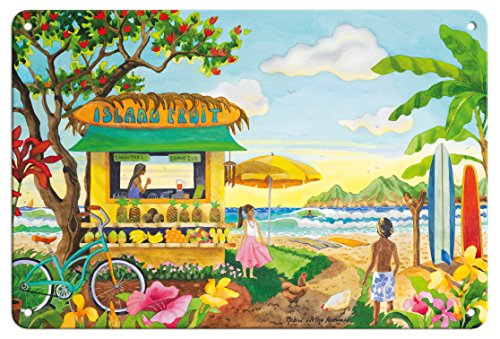 Tin Hawaii (Pacifica Island Art 8in x 12in Vintage Tin Sign - The Fruit Stand at the Beach - Tropical Paradise - Hawaii - Hawaiian Islands by Robin Wethe Altman)