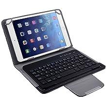 DealMux PC PU Leather portátil Bluetooth destacável teclado sem fio da capa preta para 7 polegadas 8 polegadas Tablet
