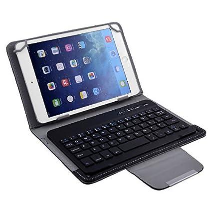 eDealMax PC portátil de Cuero de la PU del Bluetooth desmontable teclado inalámbrico Negro de la