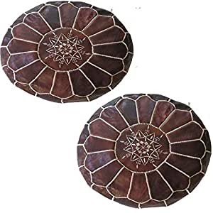 Pair (2) Moroccan Leather Pouf Ottoman with top Embroidery in Dark Tan Home Gifts, Wedding Gifts, Foot Stool, Ottoman, Cushion unstufed