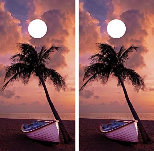 Palm Tree Beach Boat SunsetラミネートCornholeボードデカールラップラップ