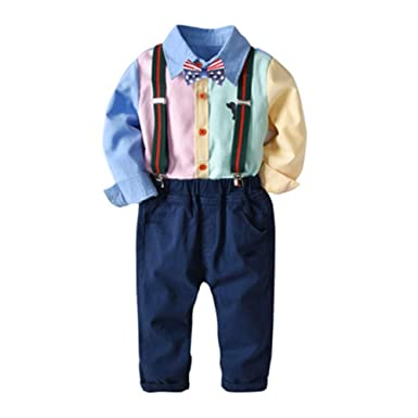 6ac9f6dd6f9 Baby Boys Clothes Sets Bow Ties Shirts Suspenders Pants Gentleman Outfits  Suits(Blue 80cm)