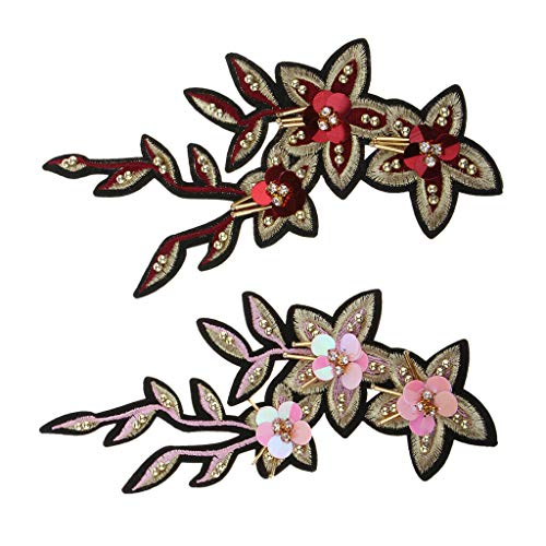 2X Flower Embroidery Patch Iron on Embroidery Patches DIY Crafts Applique