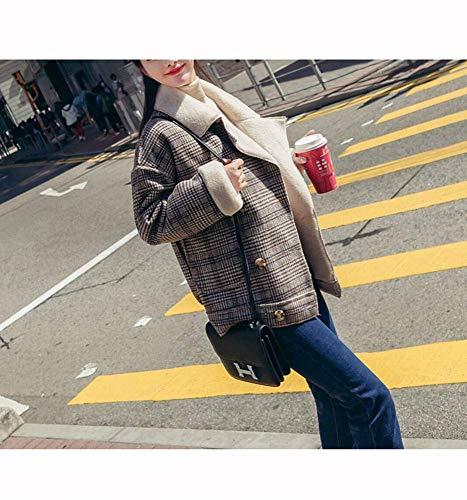 Plus Mince Femme Velours À coloré Vrac Show Épaisse Taille As En Carreaux Courte Manteau Laine Small De Section Show Épais 6Izq77