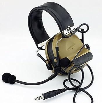 Tomtac Airsoft Comtac II 2 auriculares con micrófono Boom Radio Peltor diseño marrón de