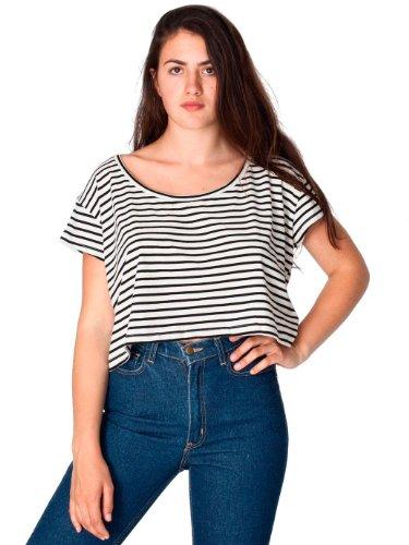 American Apparel Striped Loose Crop Tee - Natural Black Pablo Stripe / One Size
