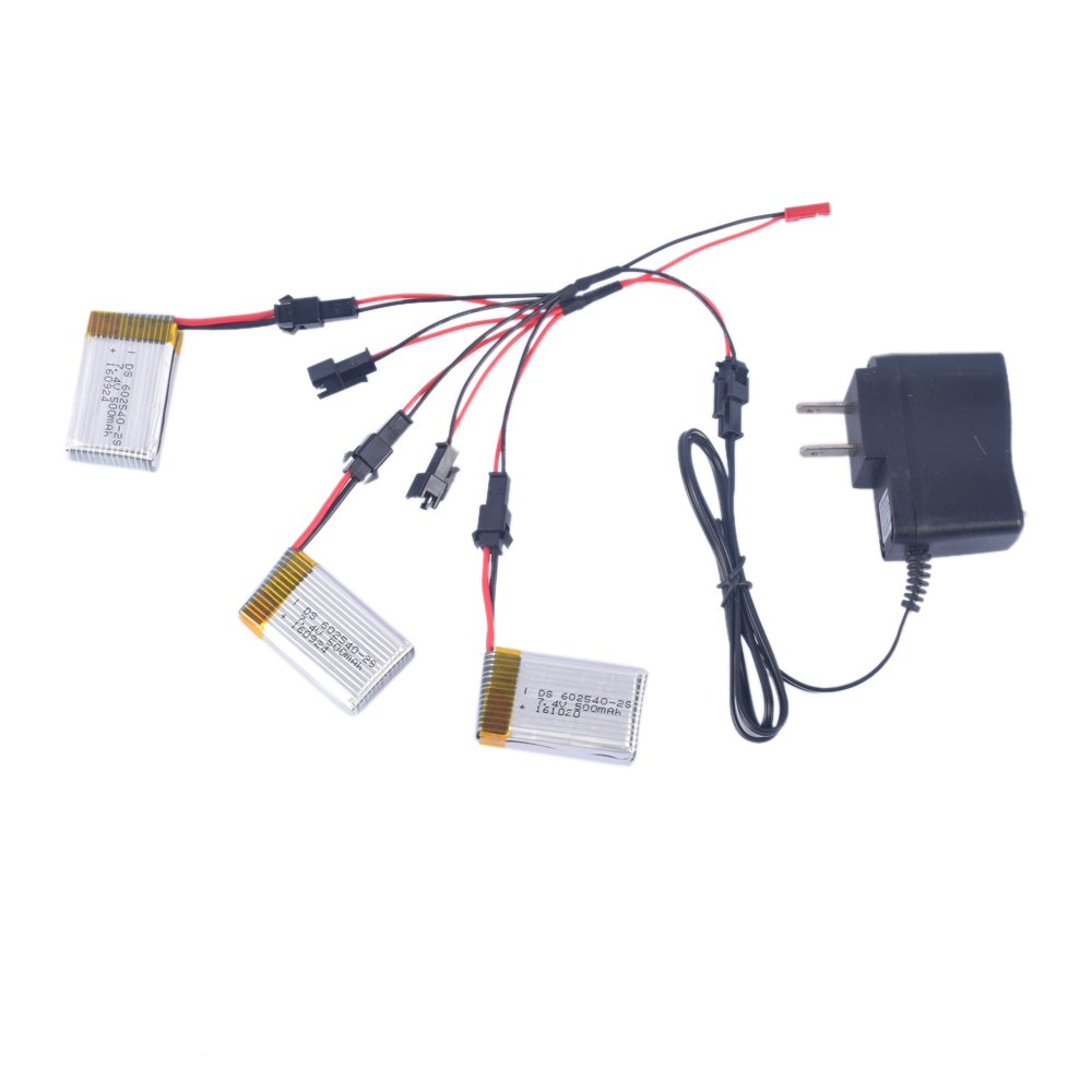 YouCute 3pcs 7.4V 500mAh Battery and 1to5 Charger for JJRC H8D H8C F182 F183DH F183 RC Quadcopter Drone Spare Parts