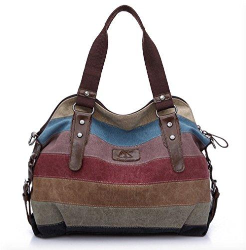 [OliaDesign® Women's Multi-color Stripes Canvas Leather Tote Handbag Cross-Body Shoulder Bag] (Stripe Shoulder Tote Bag)
