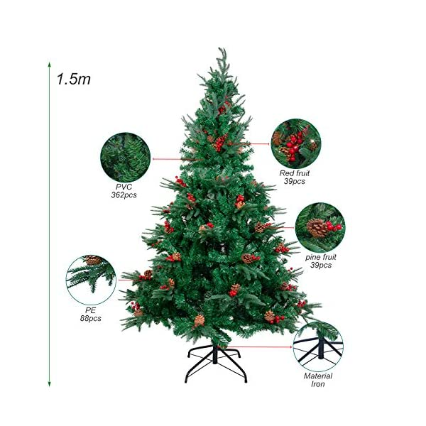 Kranich 1,5 m Albero di Natale da con pigne e Bacche Rosse, Montaggio rapido incl. Supporto per Albero di Natale, Decorazioni Natalizie 2 spesavip