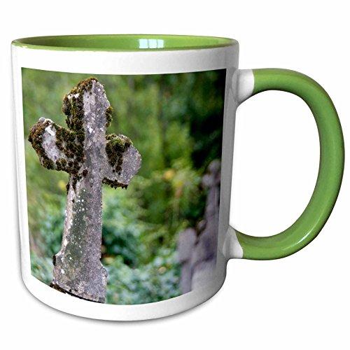 3dRose Danita Delimont - Graveyards - France Midi-Pyrenees, Cahors, Church graveyard cross - EU09 JHA0001 - Judith Haden - 11oz Two-Tone Green Mug (mug_81526_7) ()