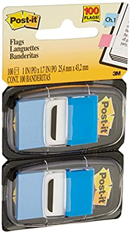 Post-it Flags Value Pack, Blue, 1-Inch Wide, 50/Dispenser, 12-Dispensers/Pack - Note Dispenser Value Pack