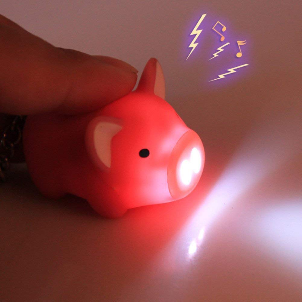 Rose Cikuso Porte-Cl/és Cochon Mignon Porte-Cl/és LED Lumi/ère Touchant avec Son Sac de Voiture Pendentif Charme D/écoration Cadeau