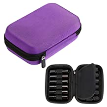 Hipiwe Hard Shell Essential Oil Carrying Case Holds 12 Bottles (Can hold 5ml, 10ml, &10ml Rollers) Travel Size Essential Oils Bag Organizer Perfect for Young Living, doTERRA, and more (Purple)