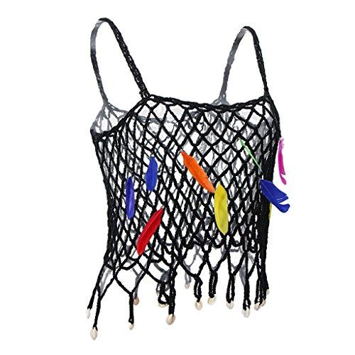 Prettyia かぎ針編み スリング 中空 フェザー飾り カラフル ファッション パンク セクシー