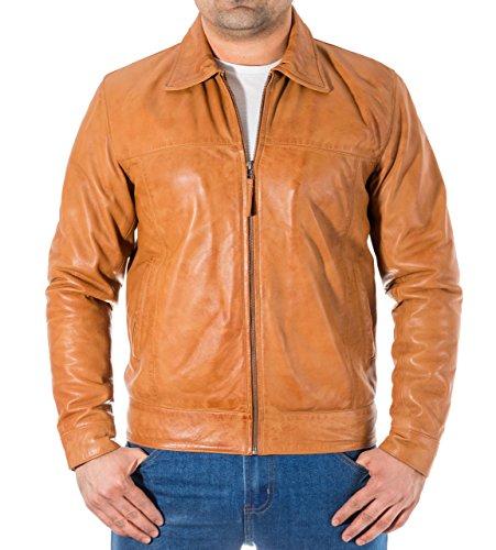 Da Cuoio Motociclista Camicia Bombardiere Collare Classiche Di Marrone Uomo Chiaro Rivestimento Del Con Stile Classica cWWpvUn
