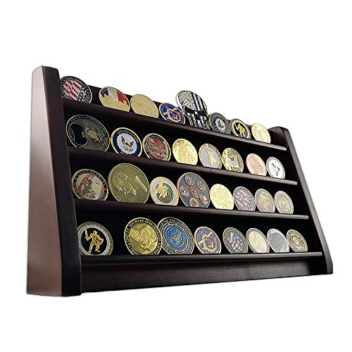 Coin Display Row (AtSKnSK 4 Rows Military Army Challenge Coin Display Stand Rack Casino Chip Holder Case Collectible Holds 28-36 Coins)
