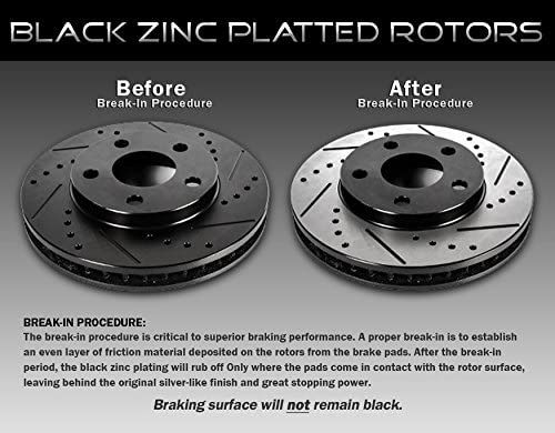 2 Brake Disc Rotors CRK13167 FRONT 240 mm Black Drilled//Slotted 4 Lug fit Honda Civic CRX