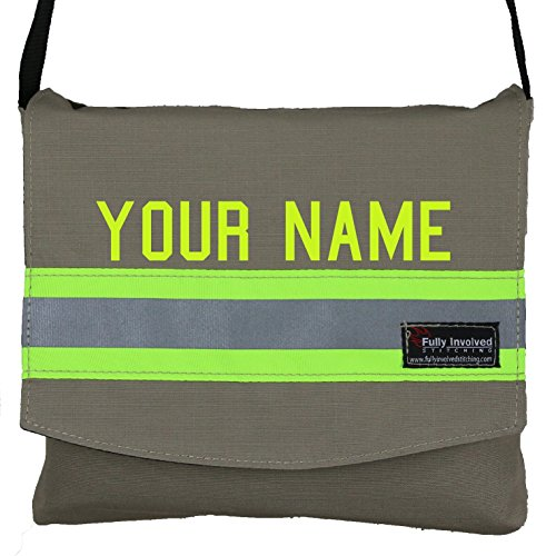 Customized Messenger Bag Made to Look Like Firefighter Turnouts with Lime/yellow Triple Trim .