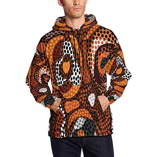 INTERESTPRINT Men's Abstract Ethnic Pattern Hooded Pullover Sweatshirt L