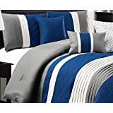 Modern 7 Piece Bedding NAVY BLUE, WHITE, GREY Pin Tuck Embossed QUEEN Comforter Set with accent pillows