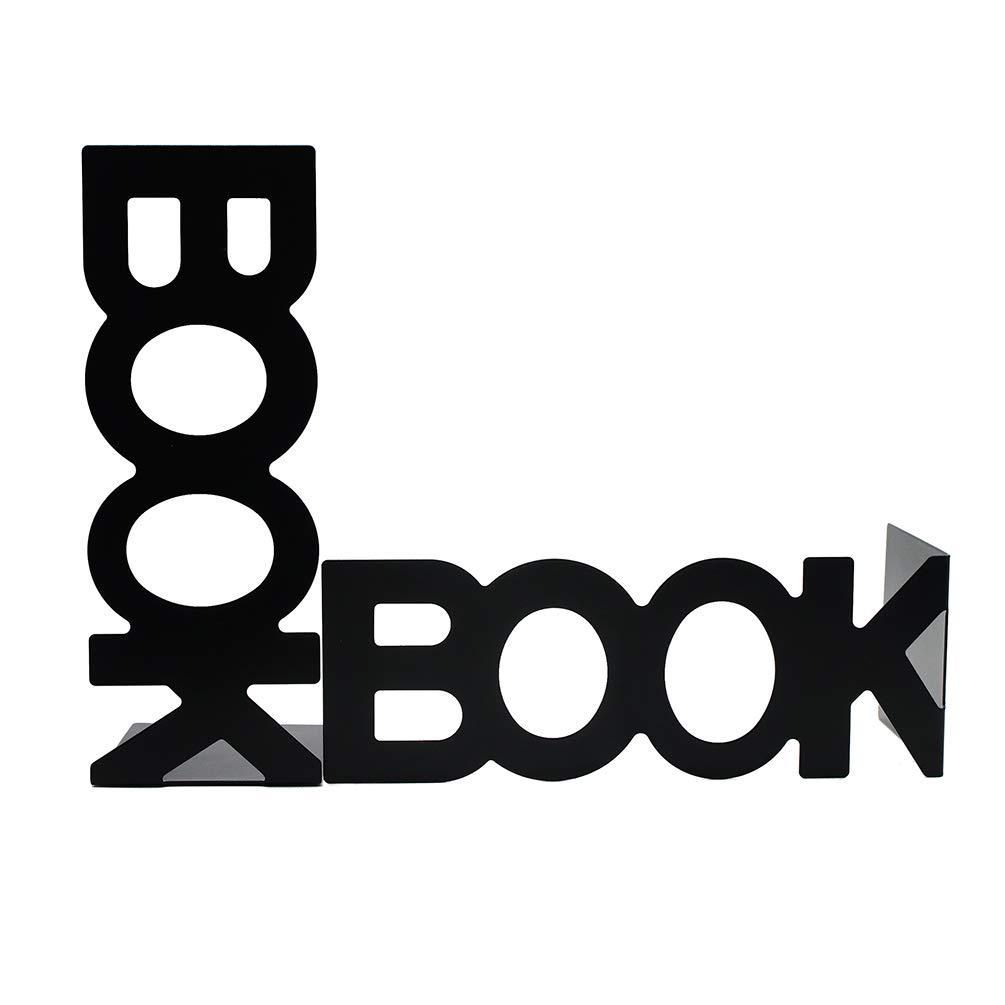 Black, Height 205mm Nonskid Book Bookends Art Book Stand for Shelf Desk Decor 1 Pair