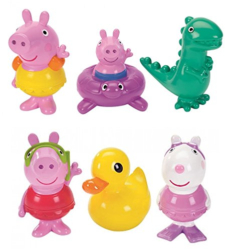 Peppa Pig Bath Squirtees Collectible Figure Set (Pack of 6)