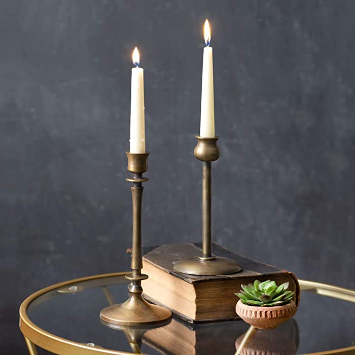 Set of 2 Brass Taper Candle Holders, Candlestick Holders, Centerpiece Table Decorative Vintage, Modern Candlelight Dinner Metal Candlestick Holders for Reception Candlelight Dinner Ornaments