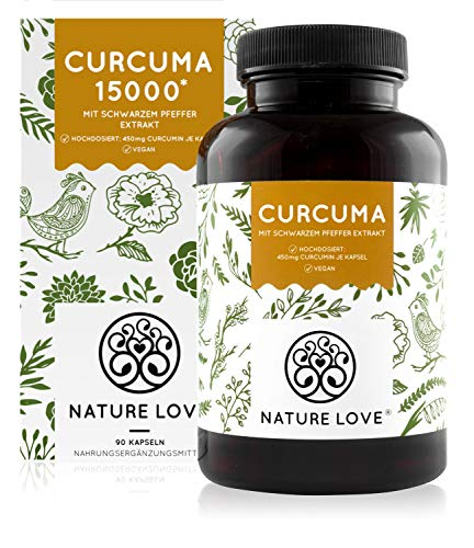 Curcuma Extrakt - Curcumin Gehalt EINER Kapsel entspricht dem von ca. 15.000mg Kurkuma - Hochdosiert mit 95% Extrakt - Laborgeprüft, vegan, hergestellt in Deutschland